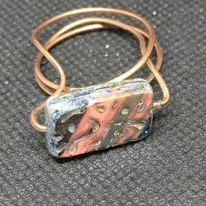 Boho brutalist bloodstone and copper ring